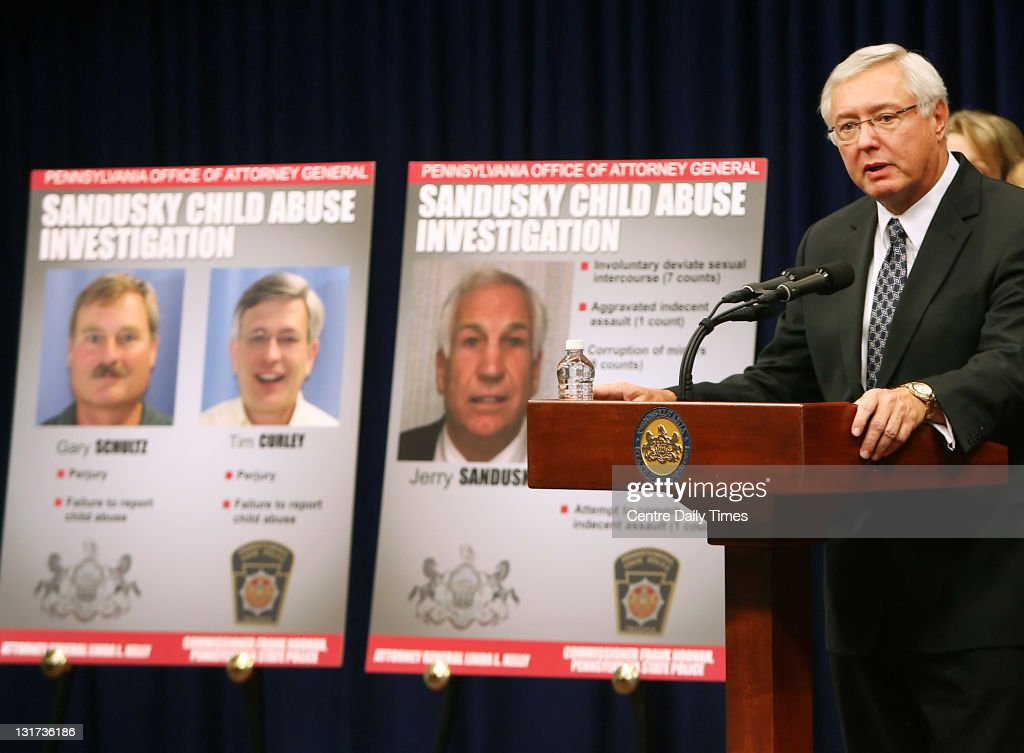 Pennsylvania State Police Commissioner Frank Noonan holds a news conference on Monday, November 7, 2011, in Harrisburg, Pennsylvania, to discuss the child abuse investigation against former Penn State defensive coordinator Jerry Sandusky.