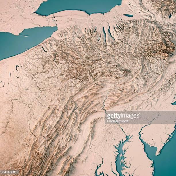 Los E.e.u.u. estado de Pennsylvania Render 3D mapa topográfico Neutral