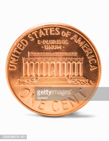 US penny, against white background, close-up