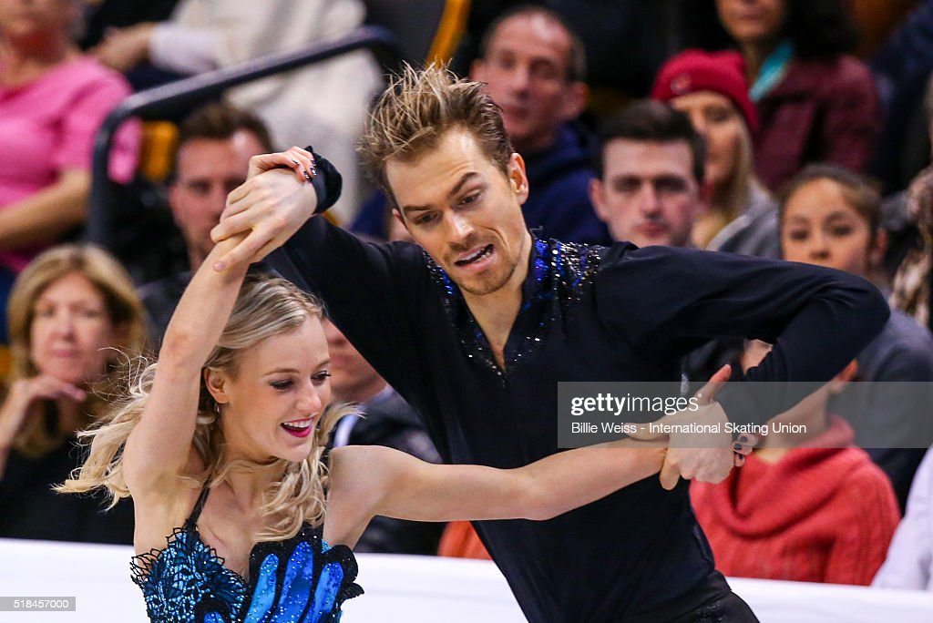 Penny Coomes and Nichoalas Buckland of Great Britain compete during Day 4 of the ISU World Figure Skating Championships 2016 at TD Garden on March 31, 2016 in Boston, Massachusetts.