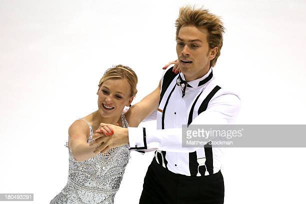 Penny Coomes and Nicholas Buckland compete in the short dance program during the US International Figure Skating Classic at the Salt Lake City Sports...