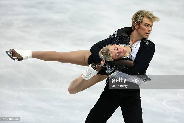 Penny Coomes and Nicholas Buckland of Great Britain compete in the Figure Skating Ice Dance Free Dance on Day 10 of the Sochi 2014 Winter Olympics at...