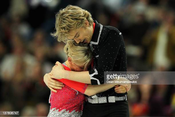 Penny Coomes and Nicholas Buckland of Great Britain embrace after the Ice Dance Free Dance during the ISU European Figure Skating Championships at...