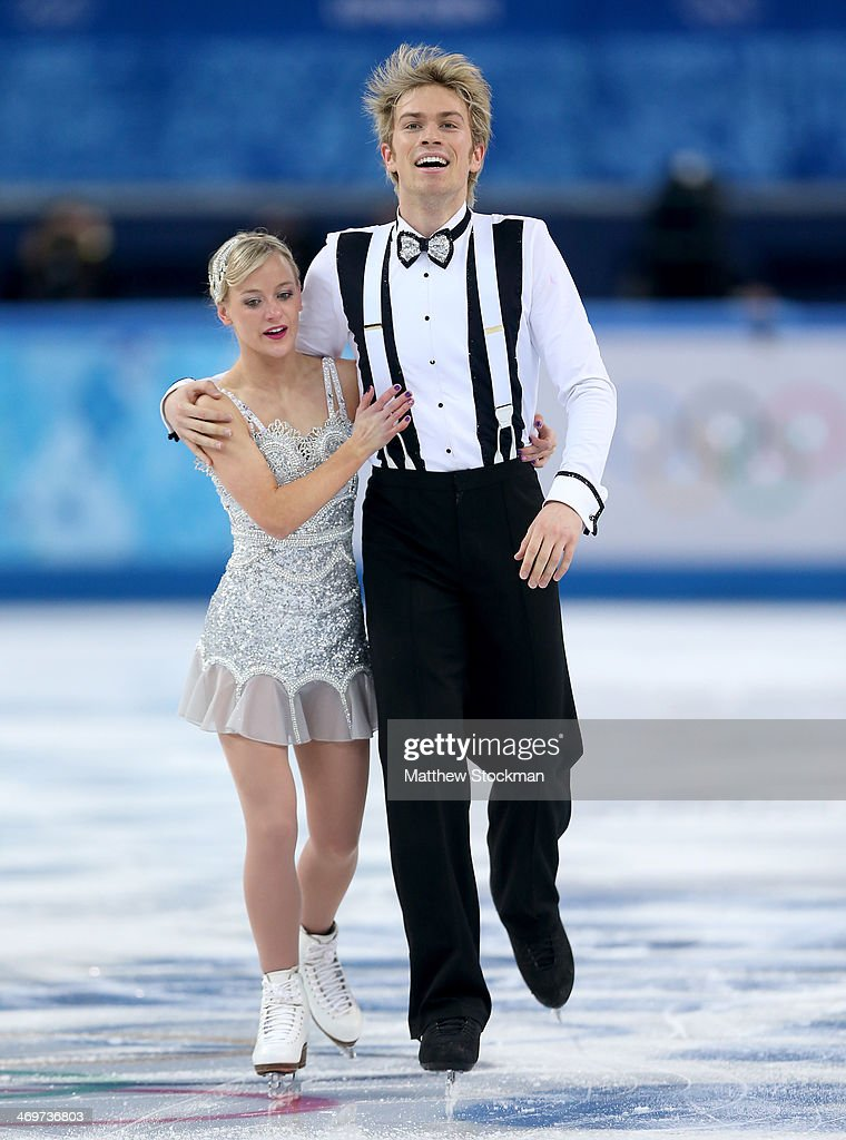 Penny Coomes and Nicholas Buckland of Great Britain react after competing during the Figure Skating Ice Dance Short Dance on day 9 of the Sochi 2014 Winter Olympics at Iceberg Skating Palace on February 16, 2014 in Sochi, Russia.