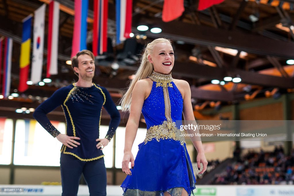 Penny Coomes and Nicholas Buckland of Great Britain react in the Ice Dance Free Dance during the Nebelhorn Trophy 2017 at Eissportzentrum on September 30, 2017 in Oberstdorf, Germany.