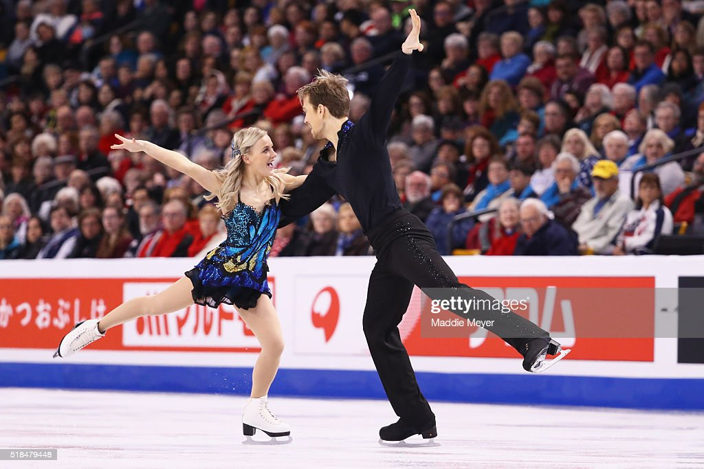 Penny Coomes and Nicholas Buckland of Great Britain skate in Free Dance Program during Day 4 of the ISU World Figure Skating Championships 2016 at TD Garden on March 31, 2016 in Boston, Massachusetts.