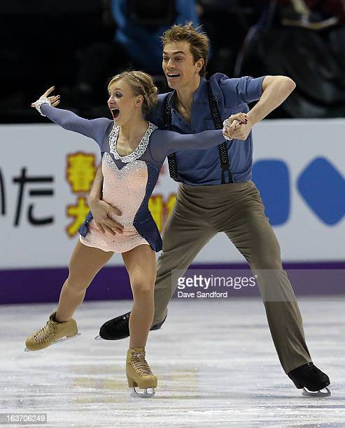Penny Coomes and Nicholas Buckland of Great Britain skate in the Ice Dance Short Dance Program during the 2013 ISU World Figure Skating Championships...