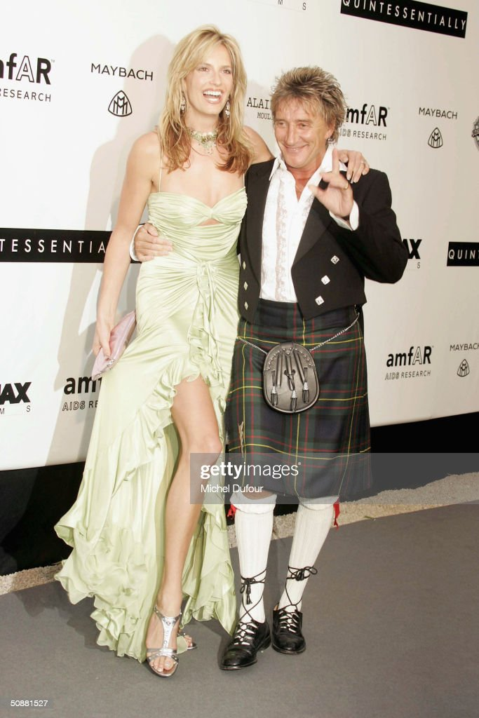 Penny Lancaster and Rod Stewart arrive at 'Cinema Against AIDS 2004', the 11th annual event in aid of amfAR (American Foundation for AIDS Research) at Le Moulin de Mougins at the 57th Cannes Film Festival on May 20, 2004 in Cannes, France.