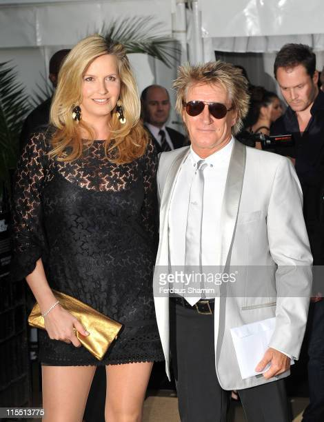 Penny Lancaster and Rod Stewart arrive at the Glamour Women Of The Year Awards at Berkeley Square Gardens on June 7 2011 in London England