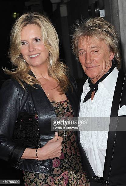 Penny Lancaster and Rod Stewart attend a VIP fundraising dinner in aid of Helping Hands at The Savoy Hotel on March 20 2014 in London England