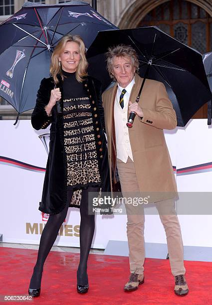 Penny Lancaster and Rod Stewart attend the Sun Military Awards at The Guildhall on January 22 2016 in London England