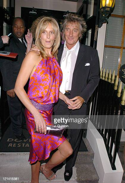 Penny Lancaster and Rod Stewart during Dover Street Restaurant 25th Birthday Charity Party at Dover Street Restaurant in London Great Britain