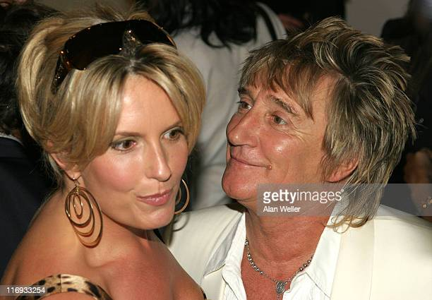 Penny Lancaster and Rod Stewart during Elle Magazine 21st Anniversary Party Red Carpet Arrivals at Versace Boutique in London Great Britain