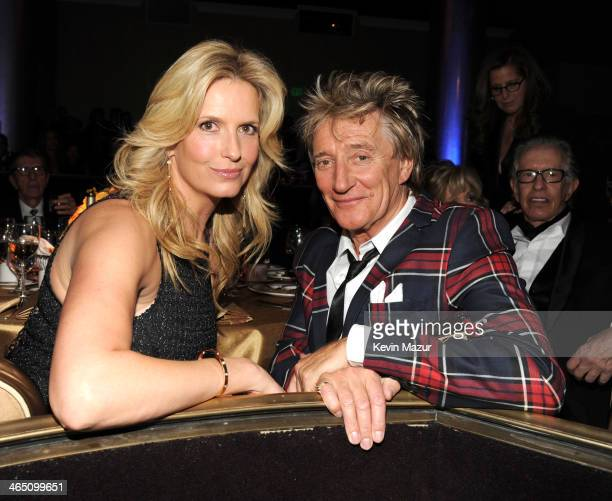 Penny Lancaster and Rod Stewart during the 56th annual GRAMMY Awards PreGRAMMY Gala and Salute to Industry Icons honoring Lucian Grainge at The...