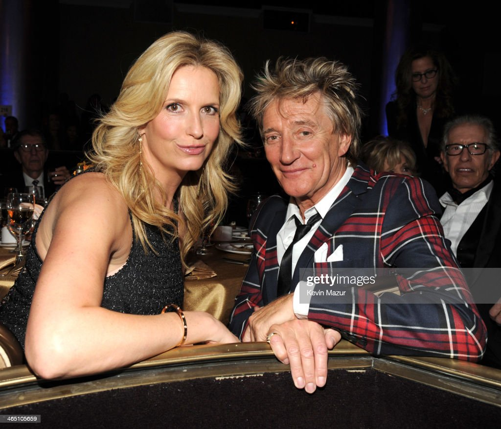 Penny Lancaster and Rod Stewart during the 56th annual GRAMMY Awards Pre-GRAMMY Gala and Salute to Industry Icons honoring Lucian Grainge at The Beverly Hilton on January 25, 2014 in Los Angeles, California.