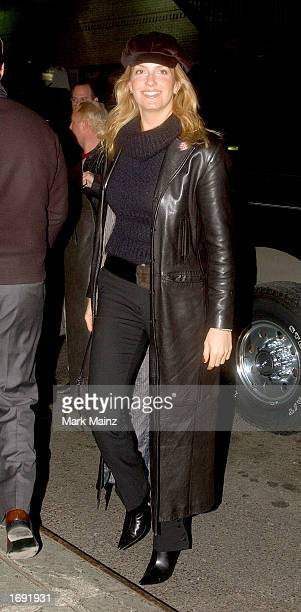Penny Lancaster arrives for a taping of the David Letterman Show December 17 2002 at the Ed Sullivan Theater in New York City New York