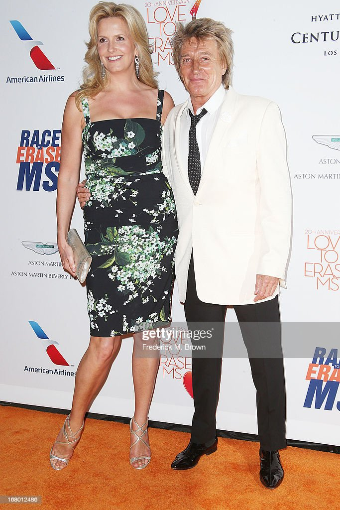 Penny Lancaster Stewart (L) and Rod Stewart attend the 20th Annual Race to Erase MS Gala 'Love to Erase MS' at the Hyatt Regency Century Plaza on May 3, 2013 in Century City, California.