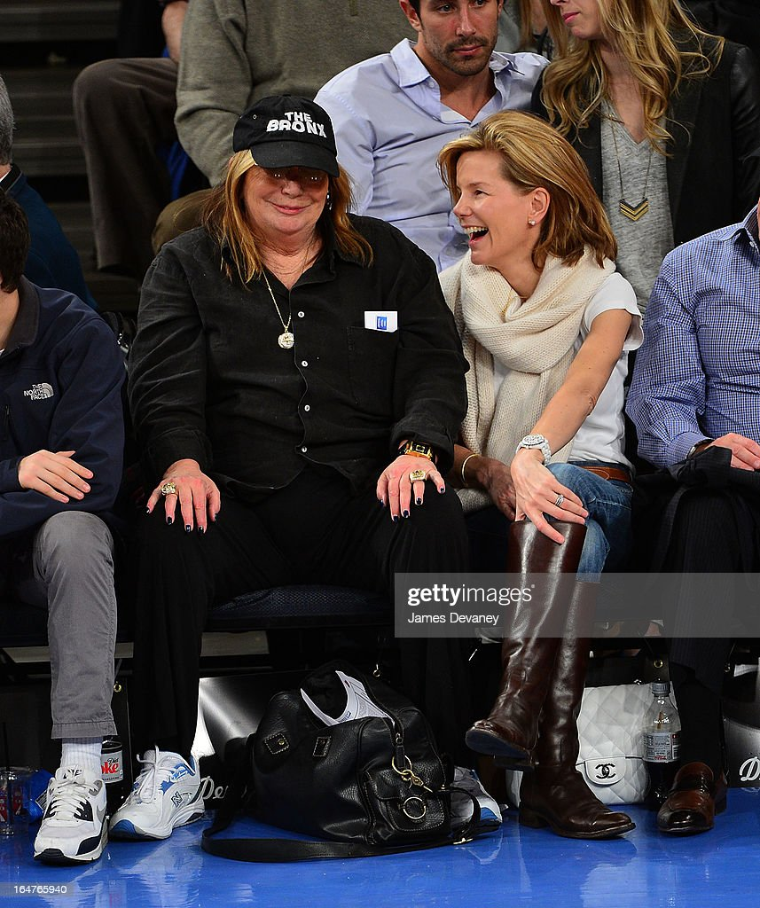 <a gi-track='captionPersonalityLinkClicked' href=/galleries/search?phrase=Penny+Marshall&family=editorial&specificpeople=202999 ng-click='$event.stopPropagation()'>Penny Marshall</a> and guest attend the Memphis Grizzlies vs New York Knicks game at Madison Square Garden on March 27, 2013 in New York City.