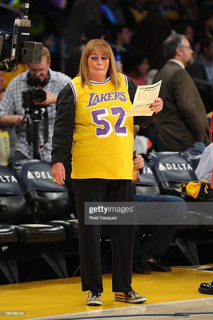 Penny Marshall attend a basketball game between the Portland Trailblazers and the Los Angeles Lakers at Staples Center on December28, 2012 in Los Angeles, California.