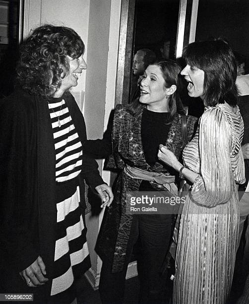 Penny Marshall Carrie Fisher and Judith Belushi during Second City Company Benefit Performance for John Belushi Second City Scholarship Fund April 17...