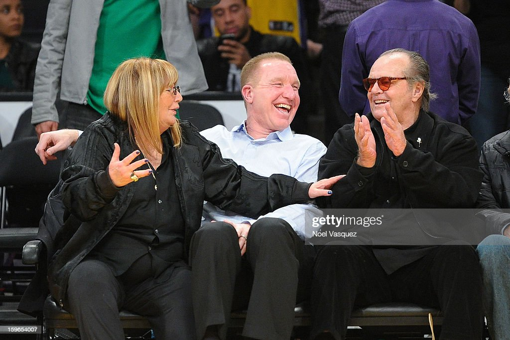 Penny Marshall, Chris Mullin and Jack Nicholson attend a basketball game between the Miami Heat and the Los Angeles Lakers at Staples Center on January 17, 2013 in Los Angeles, California.