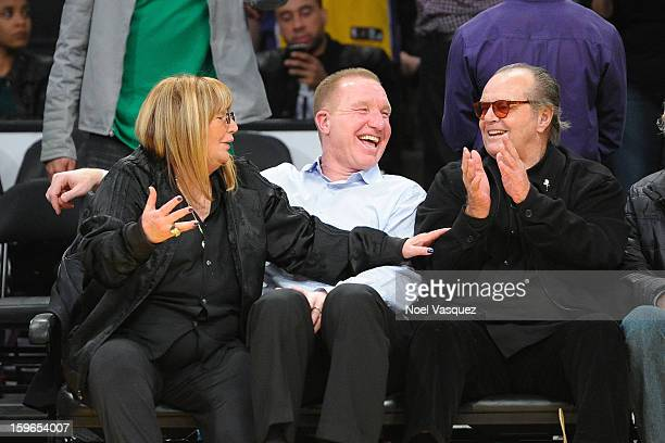 Penny Marshall Chris Mullin and Jack Nicholson attend a basketball game between the Miami Heat and the Los Angeles Lakers at Staples Center on...