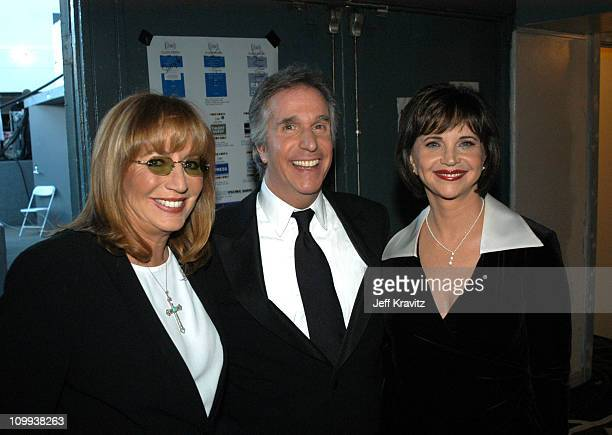 Penny Marshall Henry Winkler and Cindy Williams during The TV Land Awards Backstage at Hollywood Palladium in Hollywood CA United States