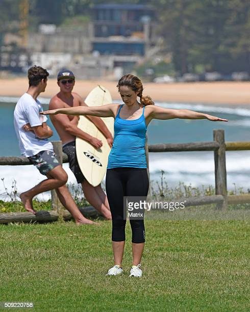 Penny McNamee and James Stewart filming Home and Away on February 9 2016 in Sydney Australia