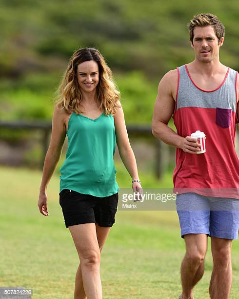 Penny McNamee and Kyle Pyror on the set of Home and Away on February 1 2016 in Sydney Australia