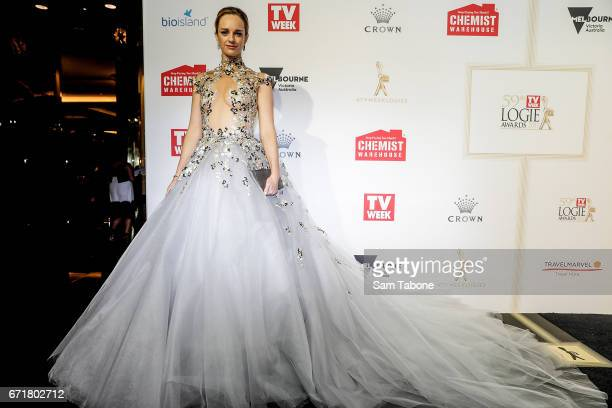 Penny McNamee arrives at the 59th Annual Logie Awards at Crown Palladium on April 23 2017 in Melbourne Australia