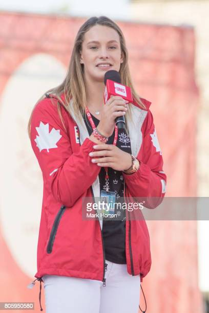 Penny Oleksiak delivers remarks at We Day Canada at Parliament Hill on July 2 2017 in Ottawa Canada