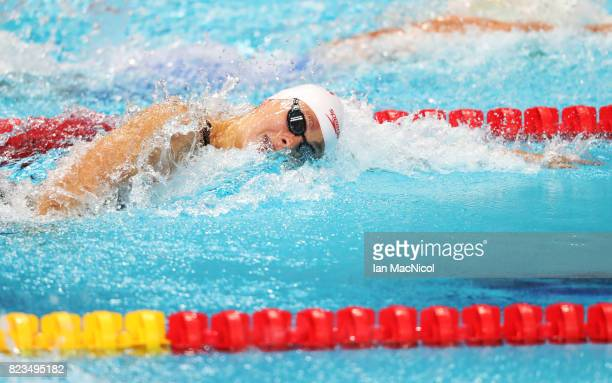 Penny Oleksiak of Canada competes in the heats of the Women's 100m Freestyle on day fourteen of the FINA World Championships at the Duna Arena on...