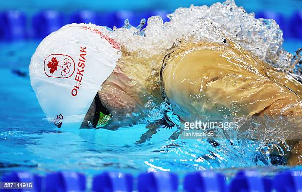 Penny Oleksiak of Canada on her way to winning silver in the Women's 100m Butterfly final during Day 2 of the Rio 2016 Olympic Games at Olympic...