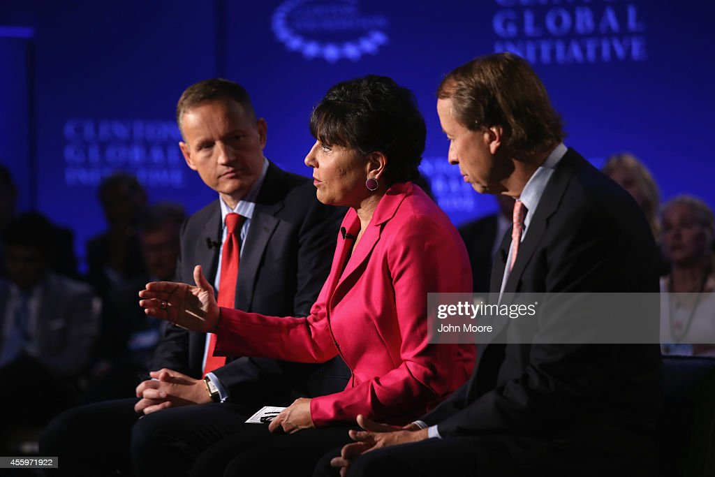 <a gi-track='captionPersonalityLinkClicked' href=/galleries/search?phrase=Penny+Pritzker&family=editorial&specificpeople=5616259 ng-click='$event.stopPropagation()'>Penny Pritzker</a>, U.S. Secretary of Commerce speaks during a breakout session with <a gi-track='captionPersonalityLinkClicked' href=/galleries/search?phrase=Anthony+Jenkins&family=editorial&specificpeople=3563847 ng-click='$event.stopPropagation()'>Anthony Jenkins</a>, CEO of Barclays (L), and Tony James, President and COO of Blackstone, while at the Clinton Global Initiative (CGI), on September 23, 2014 in New York City. The annual meeting, established in 2005 by President Clinton, convenes global leaders to discuss solutions to world problems.