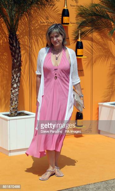 Penny Smith arrives at the Veuve Clicquot Gold Cup Polo in Midhurst Sussex