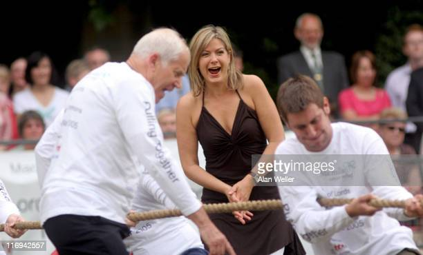 Penny Smith with the Press Gallery team during House of Lords vs House of Commons Tug of War June 21 2005 at Victoria Tower Gardens in London Great...