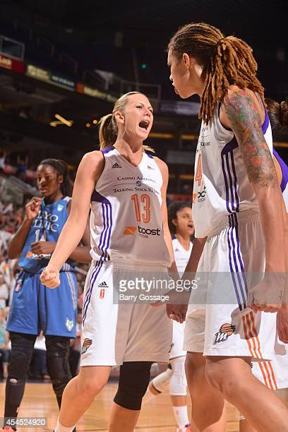 Penny Taylor and Brittney Griner of the Phoenix Mercury celebrate against the Minnesota Lynx in Game 3 of the 2014 WNBA Western Conference Finals on...