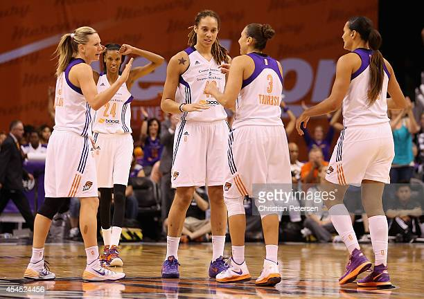 Penny Taylor DeWanna Bonner Brittney Griner Diana Taurasi and Mistie Bass of the Phoenix Mercury celebrate after scoring against the Minnesota Lynx...