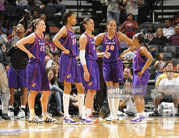 Penny Taylor DeWanna Bonner Candice Dupree Tangela Smith and Temeka Johnson of the Phoenix Mercury wait on the court during Game Two of the WNBA...