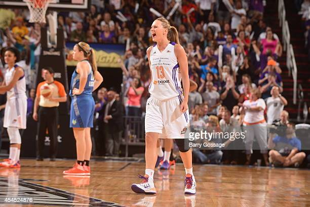 Penny Taylor of the Phoenix Mercury celebrates during Game 3 of the 2014 WNBA Western Conference Finals against the Minnesota Lynx on September 2...