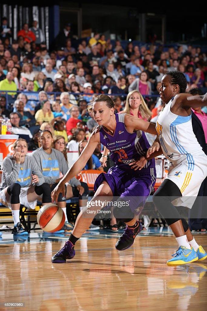 <a gi-track='captionPersonalityLinkClicked' href=/galleries/search?phrase=Penny+Taylor&family=editorial&specificpeople=206985 ng-click='$event.stopPropagation()'>Penny Taylor</a> #13 of the Phoenix Mercury drives to the basket against the Chicago Sky on July 11, 2014 at the Allstate Arena in Rosemont, Illinois.