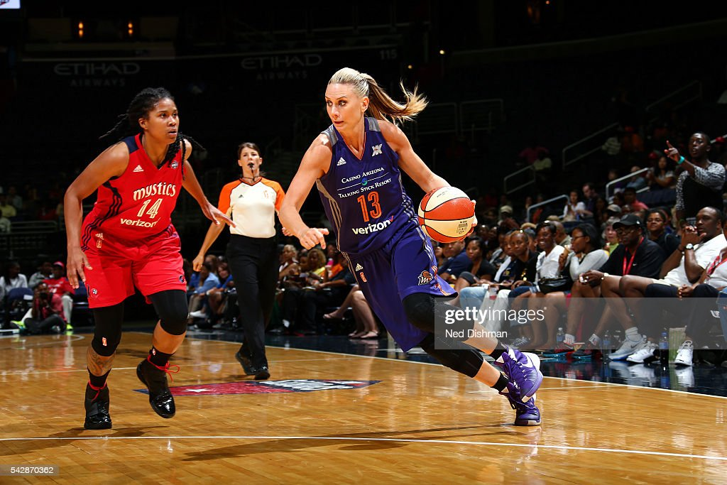 <a gi-track='captionPersonalityLinkClicked' href=/galleries/search?phrase=Penny+Taylor&family=editorial&specificpeople=206985 ng-click='$event.stopPropagation()'>Penny Taylor</a> #13 of the Phoenix Mercury drives to the basket during the game against the Washington Mystics during a WNBA game on June 24, 2016 at Verizon Center in Washington, DC.