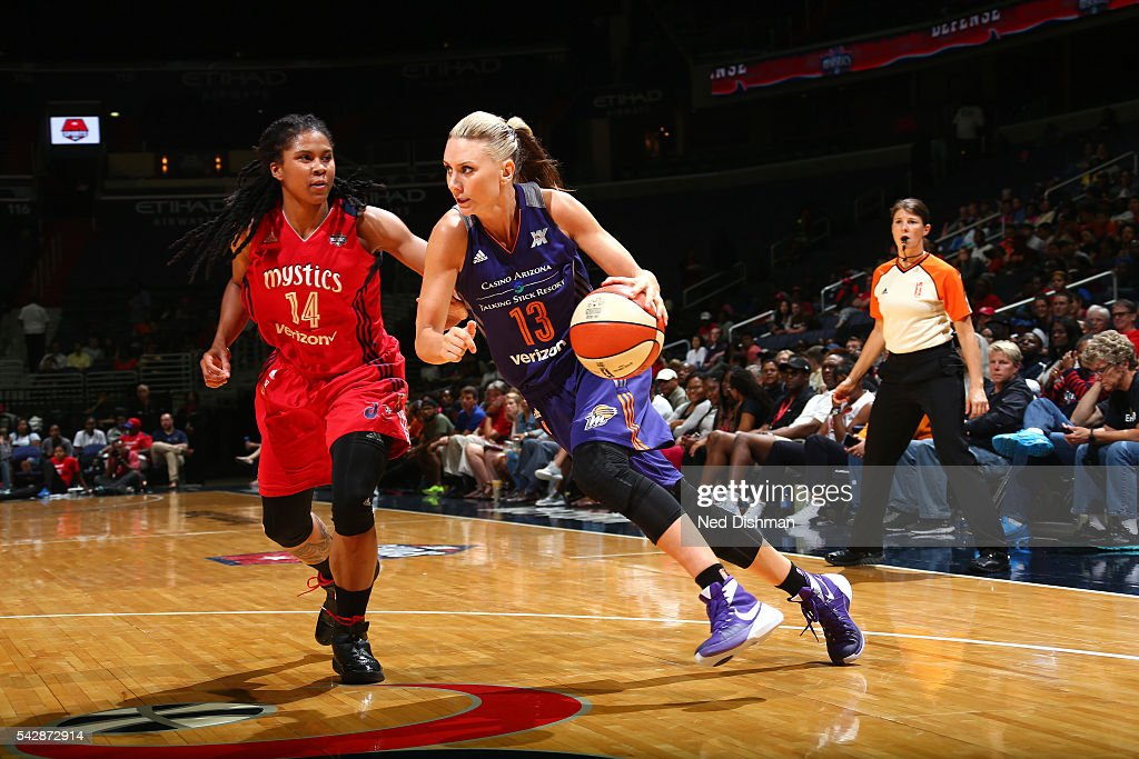 Penny Taylor #13 of the Phoenix Mercury drives to the basket during the game against the Washington Mystics during a WNBA game on June 24, 2016 at Verizon Center in Washington, DC.