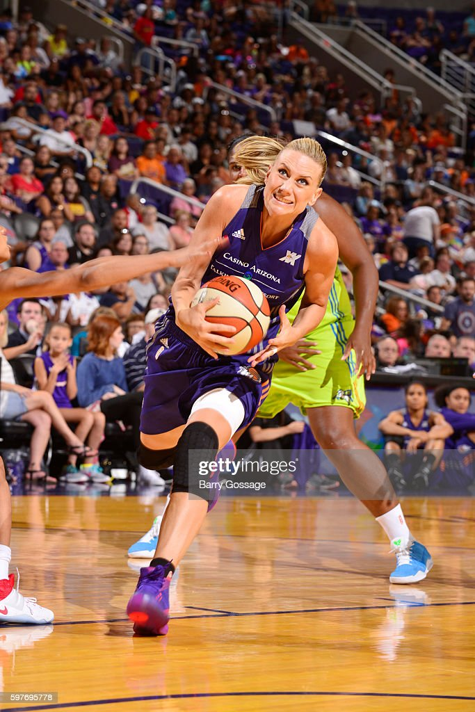 Penny Taylor of the Phoenix Mercury handles the ball against the Dallas Wings on August 26 2016 at Talking Stick Resort Arena in Phoenix Arizona NOTE...