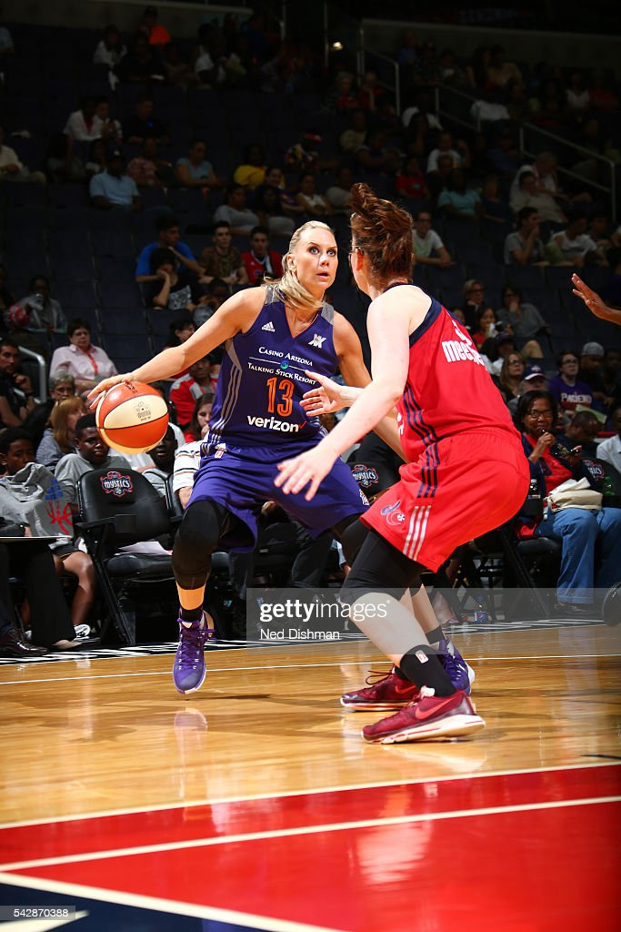 <a gi-track='captionPersonalityLinkClicked' href=/galleries/search?phrase=Penny+Taylor&family=editorial&specificpeople=206985 ng-click='$event.stopPropagation()'>Penny Taylor</a> #13 of the Phoenix Mercury handles the ball during the game against the Washington Mystics during a WNBA game on June 24, 2016 at Verizon Center in Washington, DC.