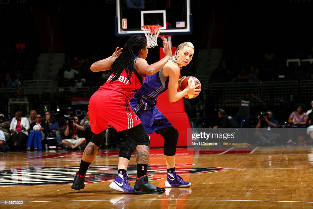 Penny Taylor #13 of the Phoenix Mercury handles the ball during the game against the Washington Mystics during a WNBA game on June 24, 2016 at Verizon Center in Washington, DC.