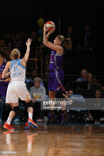 Penny Taylor of the Phoenix Mercury shoots against Allie Quigley of the Chicago Sky in Game Three of the 2014 WNBA Finals on September 12 2014 at the...
