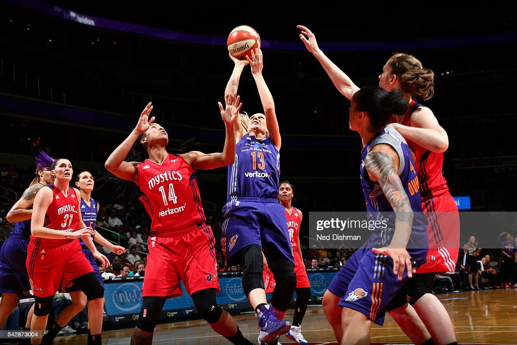 Penny Taylor #13 of the Phoenix Mercury shoots the ball during the game against the Washington Mystics during a WNBA game on June 24, 2016 at Verizon Center in Washington, DC.