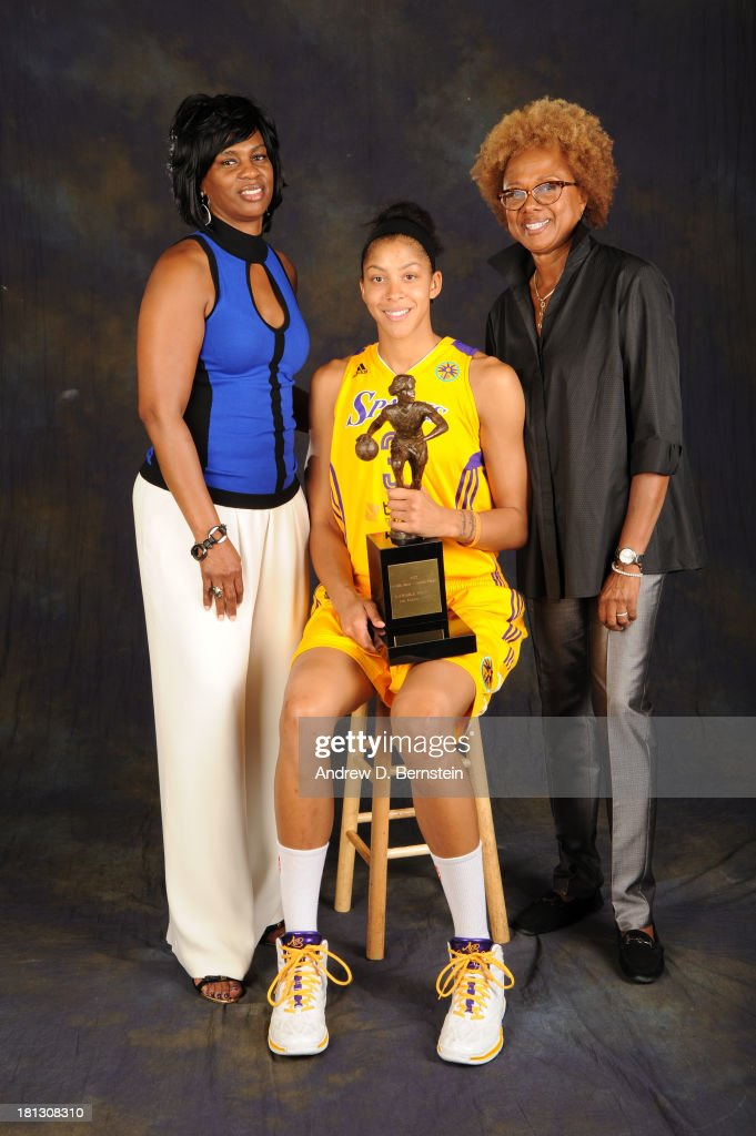 Penny Toler Executive Assistant for the Los Angeles Sparks, Candace Parker #3 of the Los Angeles Sparks and Paula Madison owner of the Los Angeles Sparks poses for a picture after Candace Parker was awarded the WNBA's Most Valuable Player for the 2013 season at STAPLES Center on September 19, 2013 in Los Angeles, California.