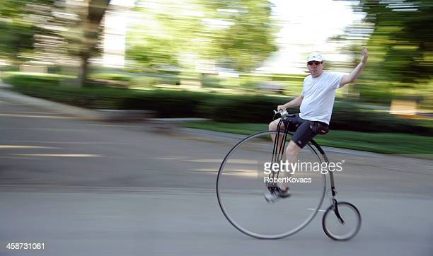 Penny-farthing velocipedist